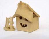 Sale - Brown house, miniature, ceramic house for garden or terrarium,rustic home decor, OOAK