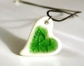 Christmas in July 50% OFF SALE Green Heart pendant,  white and green, necklace black leather, 925 silver clasp, porcelain