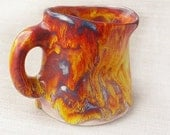 Mug crooked, fiery colors, red, orange, yellow, flame , crazy, creased, crushed, handmade ceramic, unique, OOAK