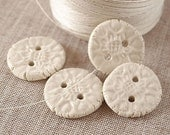 Porcelain buttons, natural white, ceramic, Clothing accessories, 4 pieces, OOAK