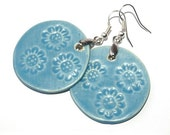 Blue earrings - wheel,  flowers, big jewelry for spring  - handmade porcelain