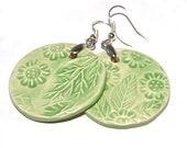 Green earrings - wheel,  flowers, big jewelry for spring  - handmade porcelain