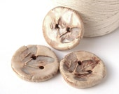 Ceramic buttons, leaves,  ivory, cream, brown, beige, rustic style, Clothing accessories, 3 pieces, ceramic