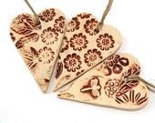 Sale - Three hearts, ceramic, beige, brown,  spring garden ornamet, dragonfly, home decor - 3 pieces