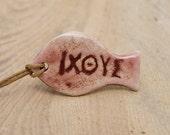 Sale - Pendant fish - ICHTIS, old Christian symbol of Christ - brown, powder pink, ivory,  porcelain glazed - unisex