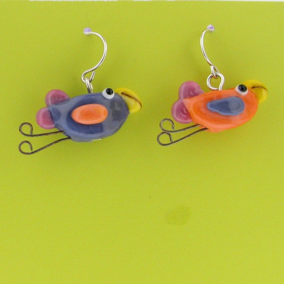glass bird earrings- purple and coral- handmade lampwork beads