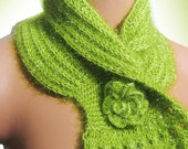 Personalized green, Crochet Women Scarf... Big Roses...Fashion scarf. Personalized Design. Neckwarmer, scarflette...