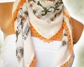 Orange, cream, green Multicolor Turkish Yemeni OYA Scarf ..bridal,scarf,authentic, romantic, elegant, fashion,