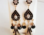 Czech Pearls, Brass-plated, svarowski stone, teardrop design, wedding black gold earring...