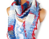 Americana Red Blue White, 2012 trends scarf, hand knit, woman scarf. Personalized Design. Latest Fashion. scarf, neckwarmer, scarflette...