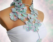 Discount Sale-Hand made crochet colorful  Flower Scarf.Fashion Flower Scarves, Necklace.Pink, lilac, mint.Multicolor lariat scarf for sprin