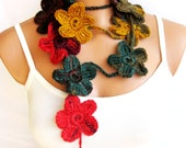 crochet multicolor Flower Lariat Scarf. Fashion Flower Scarves, Necklace...mustard green red brown