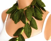 Hand made crochet green ivy leafs  Lariat Scarf. Fashion Flower Scarves, Necklace...
