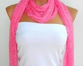 Latest Fashion Pink bright sequined scarf, shawl, unique design for 2012