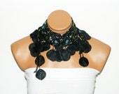 Black flower Scarf. Turkish Fabric Fringed Guipure Scarf ..bandana,headband,wedding,bridal,authentic, romantic, elegant,