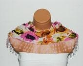 Personalized Design Multicolor Scarf. Turkish Fabric Fringed Guipure Scarf ..bandana,headband,wedding,bridal,authentic, romantic, elegant,