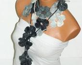 Crochet Gray, Black, White Flower Lariat Scarf. Fashion Flower Scarves, Necklace...