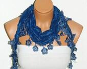 Personalized Design Blue Scarf. Turkish Fabric Fringed Guipure Scarf ..bandana,headband,wedding,bridal,authentic, romantic,