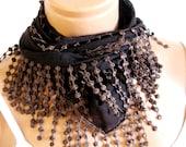 2014 trend Brown Scarf. Turkish Fabric Fringed Guipure Scarf ..bandana,headband,wedding,bridal,authentic, romantic, elegant,