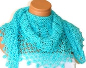 Hand knit silvery turquoise women shawl. Fashionable shawl. Personalized weave design. Stole, capelet, shawl for woman. February trends...
