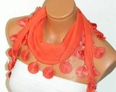 Personalized Design orange,Scarf. Turkish Fabric Fringed Guipure Scarf ..bandana,headband,wedding,bridal,authentic, romantic, elegant