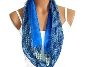 Sexy,Blue Block infinity Knit and Organza fabric scarf. Beaded and unique block infinity womens scarf.Fashion woman...
