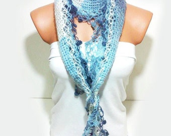 Hand knit scarf All shades of blue. Multicolor, hand knit, womens scarf. Personalized Design. Neckwarmer, scarflette...