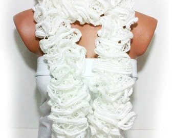 The scarf is knitted with Cream soft yarn. Long scarf. Romantic. For her. HAND MADE.