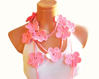 Crochet Pastel Pink Flower Lariat Scarf. Fashion Flower Scarves, Necklace...