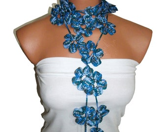 Handmade crochet Blue Lariat Scarves. Fashion Flower Scarves, Necklace...