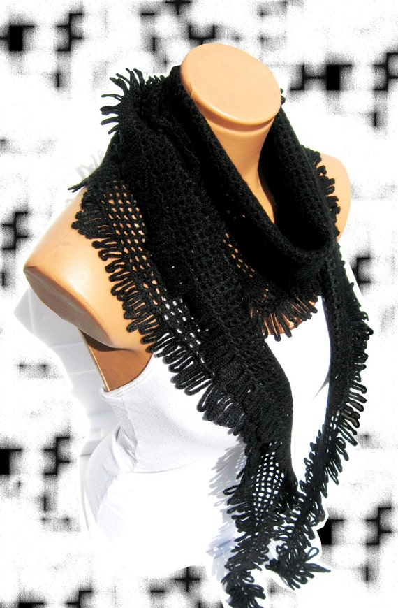 Black Nobility, 2013 trends scarf, hand knit, women scarves. Personalized Design. Latest Fashion. scarf, neckwarmer, scarflette...