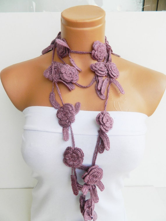 Hand made crochet Pink Flower Lariat Scarf. Fashion Flower Scarves, Necklace...
