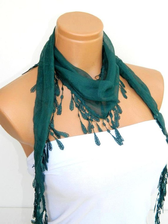 Personalized Design emerald green Scarf.Turkish Fabric Fringed Guipure Scarf ..bandana,headband,wedding,bridal,authentic, romantic, elegant,