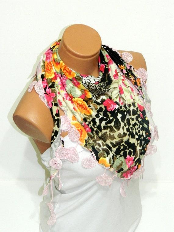 Spring Colors Women Scarf. Multicolor colorfull scarves, Turkish Fabric Fringed Guipure Scarf ..bandana,headband,wedding,bridal,authentic,