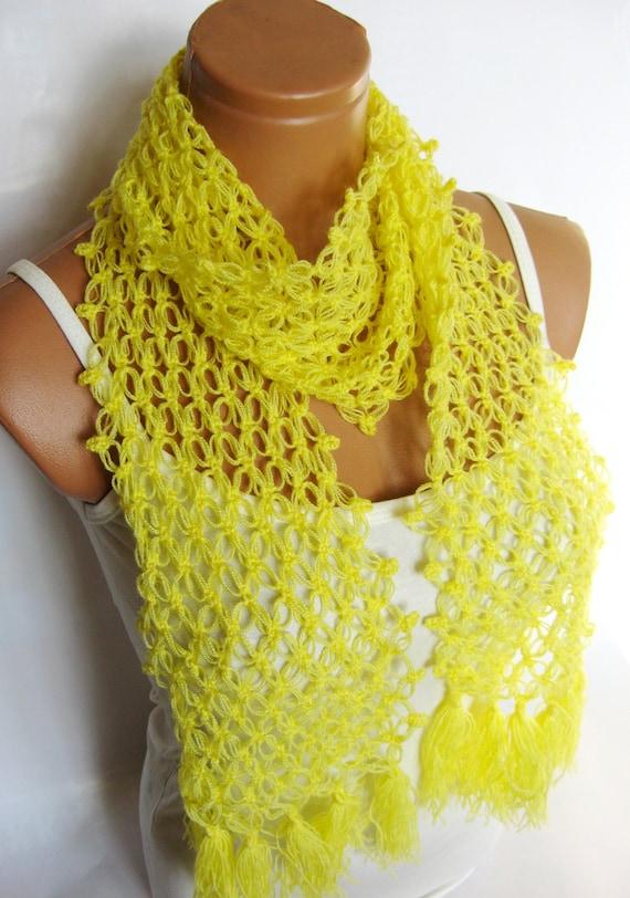 Crochet Yellow Scarf, spider web scarf, Crochet Women Accessory...