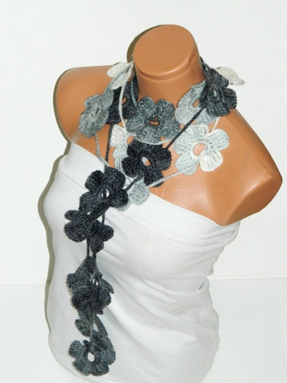 Crochet Gray, Black, White Flower Lariat Scarf. Fashion Flower Scarves, Necklace...