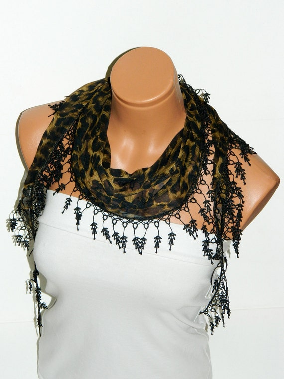 Black, Leopard Pattern 2012 summer trends Scarf ..bridal,scarf,authentic, romantic, elegant, fashion, personalized design