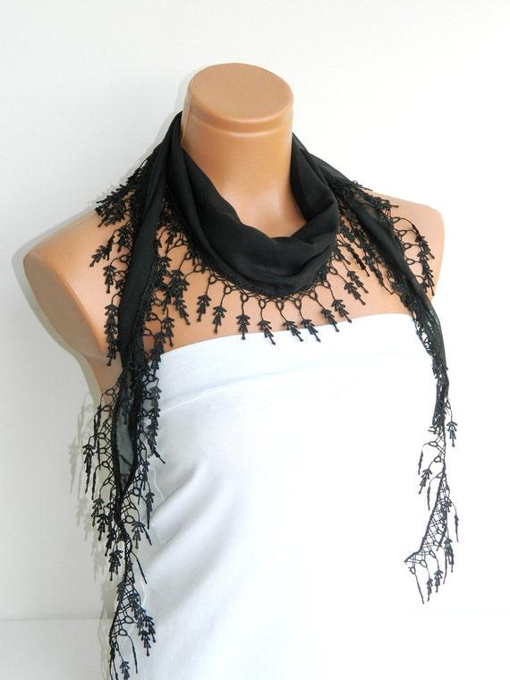 Personalized Design black Scarf. Turkish Fabric Fringed Guipure Scarf ..bandana,headband,wedding,bridal,authentic, romantic, elegant,