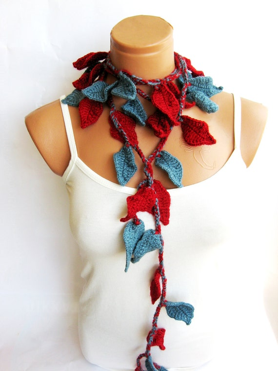 Red, bluish gray, womens lariat scarf, Crochet ivy,  ivy leafs Lariat Scarf. Fashion Flower Scarves, Necklace...