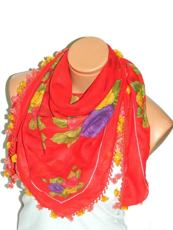 RED Multicolor  Turkish Yemeni OYA Scarf ..bridal,scarf,authentic, romantic, elegant, fashion, personalized design...