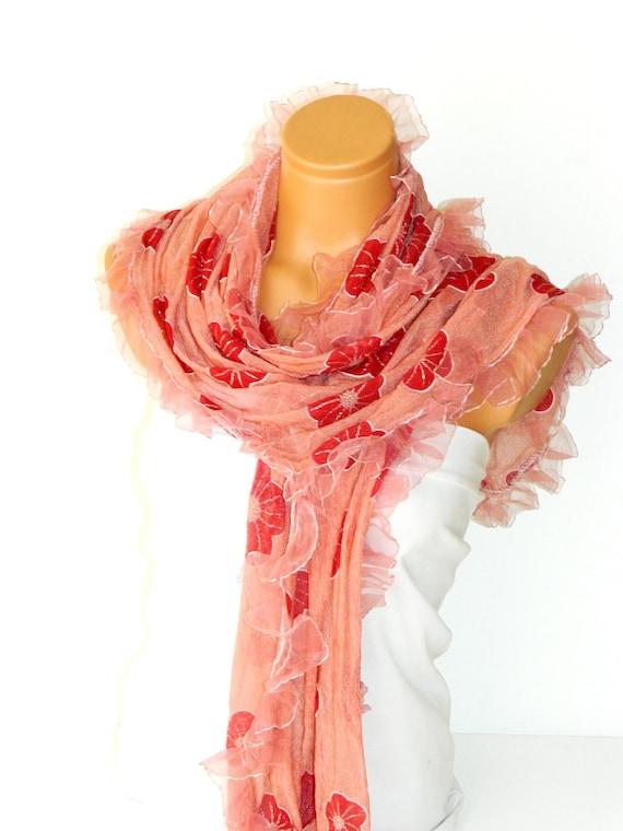 summer fashion shawl, scarves. white Frilly, fancy flower pattern sim. wedding,bridal,authentic, romantic, elegant