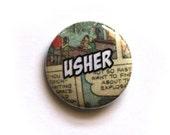 Wedding Pinback Button Badge Boutonniere alternative Comic Pinback Button Badge Geeky Usher