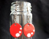 copper enameled recycled penny earrings by gladys the brave