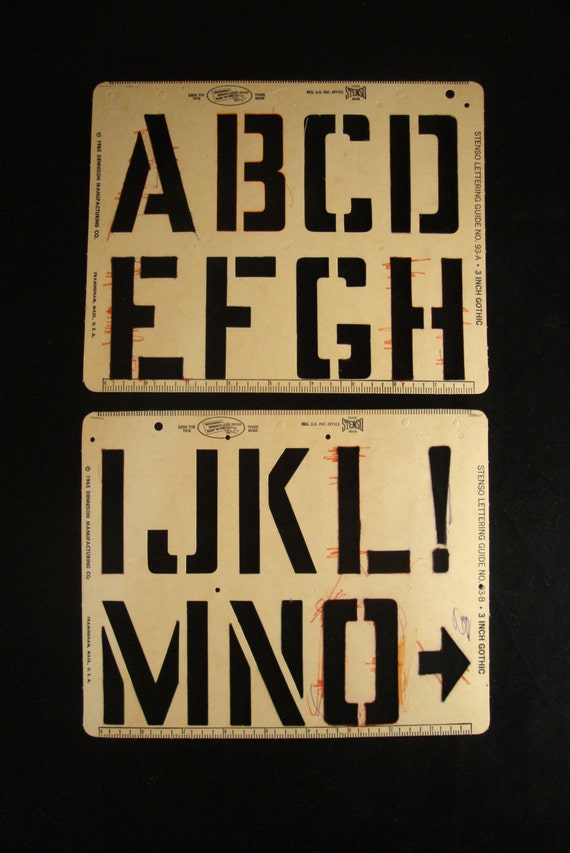 1950s/ 60s Vintage Alphabet Stencil (2 available) by Stenso Lettering Company (alphabet on four pages)