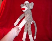 Sock Monkey Traditional Rockford Red Heel Handmade by Me Black Button Eyes