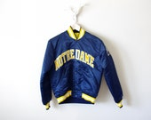 Vintage Notre Dame Satin Starter Jacket - 1980's - NCAA - Fighting Irish - Blue and Gold - Back to School