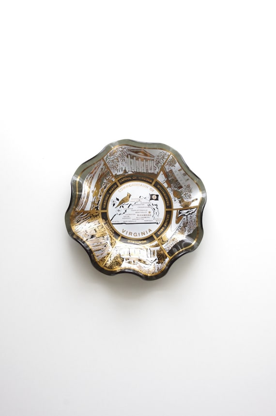 Commonwealth of Virginia Glass Bowl or Ash Tray - Mad Men Style - Cottage Style - Mother's Day