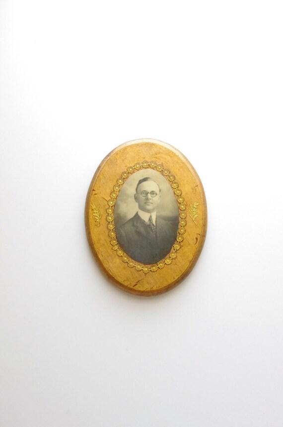 Early 1900's Lacquered Dapper Gentleman Photograph Wall Hanging - Folk Art - Americana - Wood - Gold