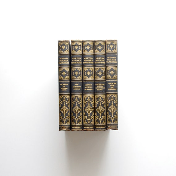 Five Blue Books - Instant Library - 1920 Burton Holmes Travelogues - Interior Design - Back to School -Blue and Gold - Cottage Chic