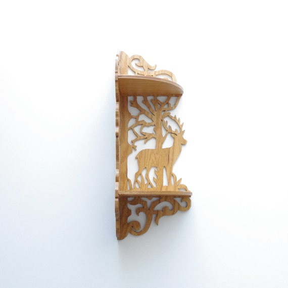Vintage Deer Fretwork Corner Shelf - Boho - Cottage Chic - Wood - Oak - Natural History - Organization